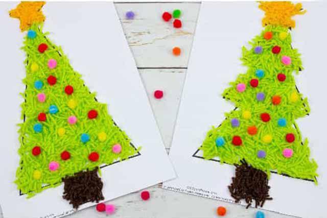 幼儿园小班简单手工:毛线粘贴画圣诞树(步骤图解)