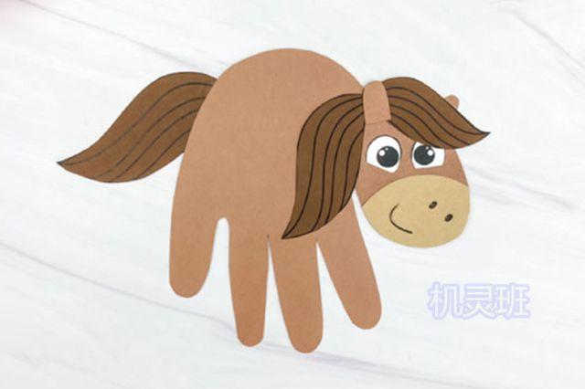 小班简单手工:简单有趣有创意剪纸手掌印画各种动物(步骤图解)11