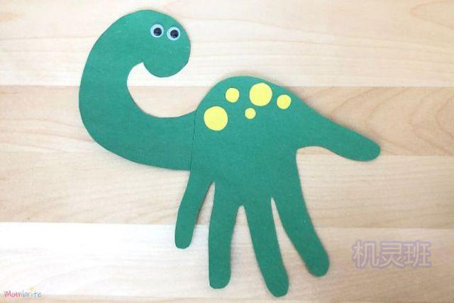 小班简单手工:简单有趣有创意剪纸手掌印画各种动物(步骤图解)3