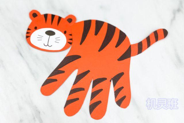 小班简单手工:简单有趣有创意剪纸手掌印画各种动物(步骤图解)16