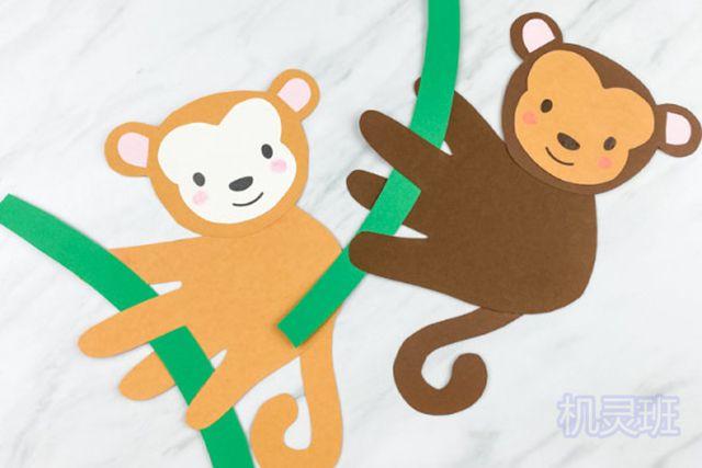 小班简单手工:简单有趣有创意剪纸手掌印画各种动物(步骤图解)18