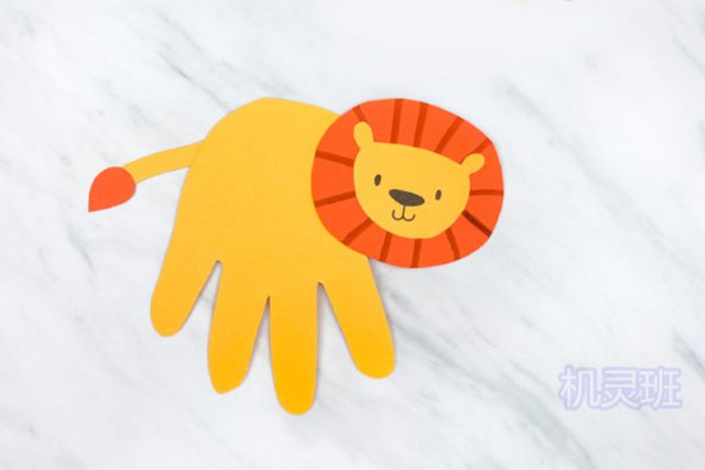 小班简单手工:简单有趣有创意剪纸手掌印画各种动物(步骤图解)4