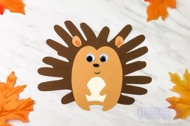 小班简单手工:简单有趣有创意剪纸手掌印画各种动物(步骤图解)12