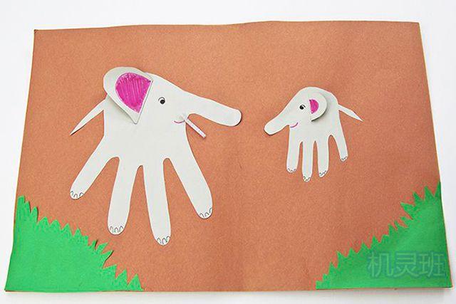 小班简单手工:简单有趣有创意剪纸手掌印画各种动物(步骤图解)5