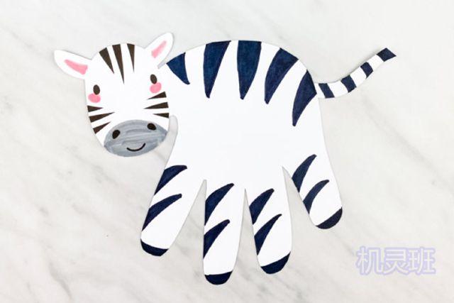 小班简单手工:简单有趣有创意剪纸手掌印画各种动物(步骤图解)17