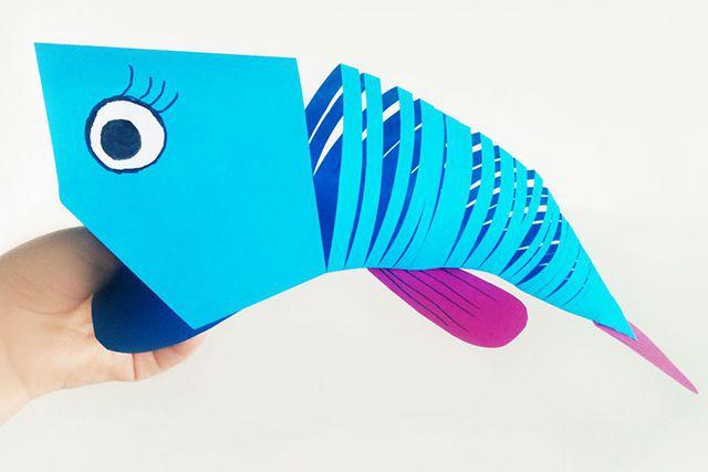 儿童手工海洋动物:怎么用彩色A4纸简单剪纸会动的鲤鱼(步骤图解)14